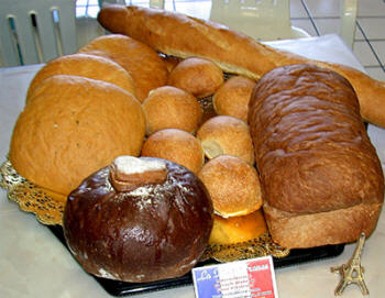 Freshly baked French bread and baguettes